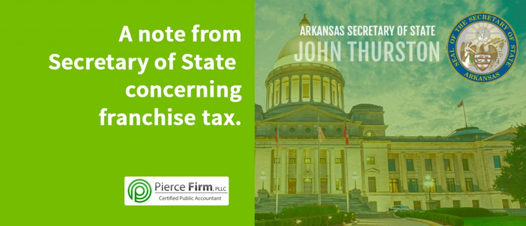 A note from Secretary of State concerning franchise tax.